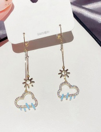 Fashion Real Gold Plated Sun Cloud Copper Inlaid Zircon Long Earrings