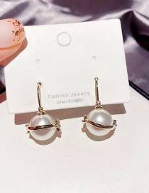 Fashion Real Gold Plated Diamond Moon Pearl Planet Copper And Zircon Earrings
