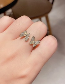 Fashion Real Gold Plated Butterfly Opening Adjustable Real Gold Plated Ring