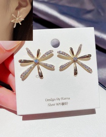 Fashion 14k Real Gold Plated Firework Copper Inlaid Zircon And Real Gold Earrings