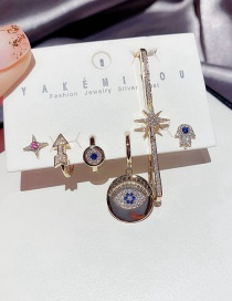 Fashion Real Gold Plated Copper Inlaid Zircon Eye Arrow Round Earrings Set