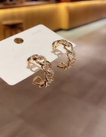 Fashion Real Gold Plated C-shaped Metal Chain Copper Inlaid Zircon Earrings