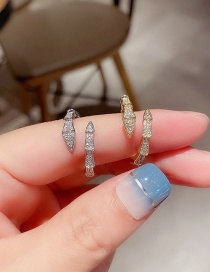 Fashion Real Gold Plated Snake Festival Copper Inlaid Zircon Open Ring