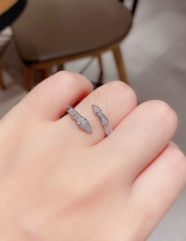 Fashion Platinum Plated Snake Festival Copper Inlaid Zircon Open Ring