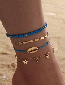 Fashion Royal Blue Rice Beads Star Shell Woven Multilayer Anklet