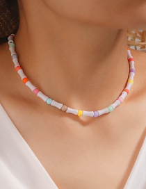 Fashion Color Mixing Rice Beads Beaded Bamboo Contrasting Color Necklace
