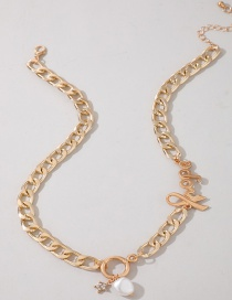 Fashion Golden Alloy Alphabet Star Pearl Circle Necklace