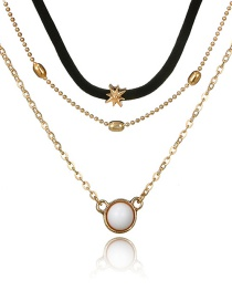 Fashion Golden Turquoise Sun Multilayer Alloy Star Necklace