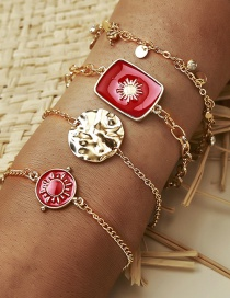 Fashion Golden Round Totem Dripping Alloy Multilayer Bracelet