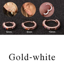 Fashion Gold-white 6mm Micro-inlaid Zircon Round Copper Gold-plated Cartilage Earrings