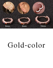 Fashion Gold-color 6mm Micro-inlaid Zircon Round Copper Gold-plated Cartilage Earrings