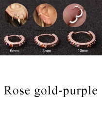 Fashion Rose Gold-purple 6mm Micro-inlaid Zircon Round Copper Gold-plated Cartilage Earrings