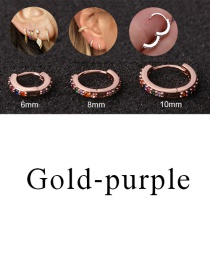 Fashion Gold-purple 8mm Micro-inlaid Zircon Round Copper Gold-plated Cartilage Earrings