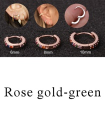 Fashion Rose Gold-green 8mm Micro-inlaid Zircon Round Copper Gold-plated Cartilage Earrings