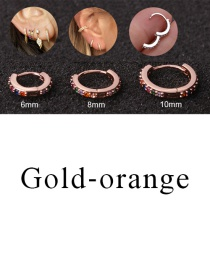 Fashion Gold-orange 10mm Micro-inlaid Zircon Round Copper Gold-plated Cartilage Earrings