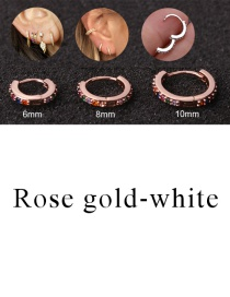 Fashion Rose Gold-white 10mm Micro-inlaid Zircon Round Copper Gold-plated Cartilage Earrings
