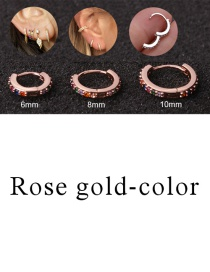 Fashion Rose Gold-color 10mm Micro-inlaid Zircon Round Copper Gold-plated Cartilage Earrings