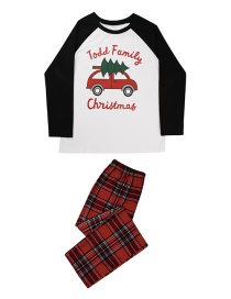 Fashion Mothers Plaid Car Christmas Tree Print Pajamas And Home Service Parent-child Set