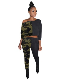 Fashion Camouflage Two-color Stitching Leopard Print Camouflage Diagonal Top Pants Suit
