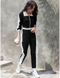 Fashion Black Slim-fit Contrast Stitching Ruffled Lapel Sports Suit