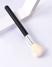 Fashion Single-black Silver-yellow White-loose Powder Color Makeup Brush With Wooden Handle And Aluminum Tube Nylon Hair