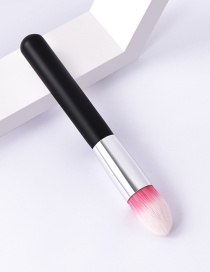 Fashion Single-black Silver-flame Color Makeup Brush With Wooden Handle And Aluminum Tube Nylon Hair