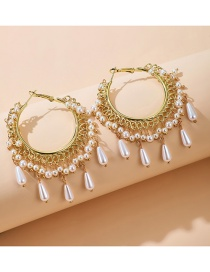 Fashion Tassel Flower Pearl Tassel Geometric Alloy Earrings