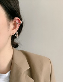 Fashion Silver Color Crystal Faceted Geometric Alloy Ear Clips
