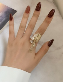 Fashion Gold Color Coloren Diamond Tassel Beaded Pearl Open Ring