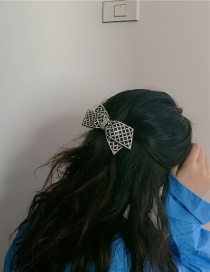 Fashion Black Fabric Hairpin With Diamond Bow