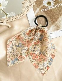 Fashion Beige Print Small Floral Print Solid Color Ribbon Fabric Elastic Hair Rope
