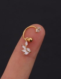 Fashion 21# 8mm Gold Color Color Stainless Steel Geometric C-shaped Flower Micro-inlaid Zircon Earrings (1 Price)