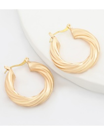 Fashion Gold Color Coloren Alloy Series Spiral Pattern Round Opening Geometric Earrings