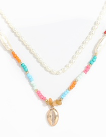 Fashion Two-piece Suit Resin Alloy Shell Pendant Imitation Pearl Multilayer Necklace