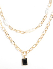 Fashion Two-piece Alloy Imitation Pearl Acrylic Square Pendant Multilayer Necklace