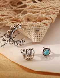 Fashion Silver Color Turquoise Love Hollow Alloy Earring Set