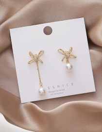 Fashion Gold Color Pearl Bow Knot Zircon Asymmetric Alloy Earrings