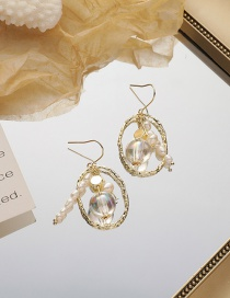 Fashion Gold Color Oval Pear Flower Crystal Bead Hollow Pearl Earrings
