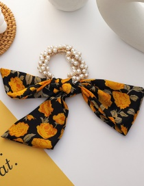 Fashion Yellow Floral Bow Knot Pearl Flower Hair Rope