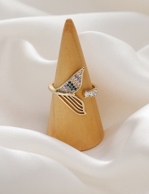 Fashion Gold Color Mermaid Micro Inlaid Zircon Hollow Alloy Ring