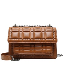 Fashion Brown Studded Diamond Chain Shoulder Messenger Bag