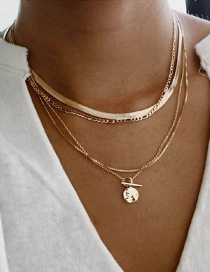 Fashion Gold Color Alloy Round Pendant Multilayer Necklace