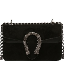 Fashion Black Velvet Chain Lock Shoulder Crossbody Bag