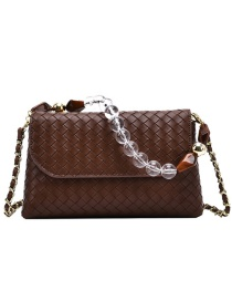 Fashion Brown Woven Chain Flap Solid Color Shoulder Bag