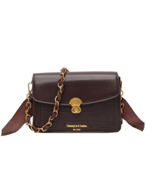 Fashion Brown Broadband Chain Stitching Contrast Color Crossbody Shoulder Bag