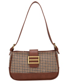 Fashion Houndstooth Brown Houndstooth Print Stitching Shoulder Messenger Bag