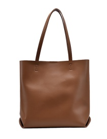Fashion Brown Large Capacity Solid Color Picture Mother Shoulder Bag
