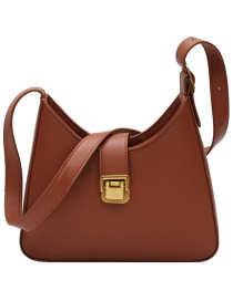 Fashion Light Brown Lock Solid Color One-shoulder Messenger Bag