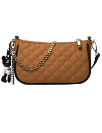 Fashion Brown Embroidered Chain Edging Diagonal Shoulder Bag