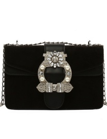Fashion Black Velvet And Diamond Lock Chain Shoulder Crossbody Bag
